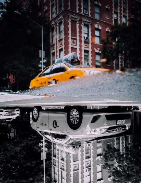 New York City Yellow Cab Reflection