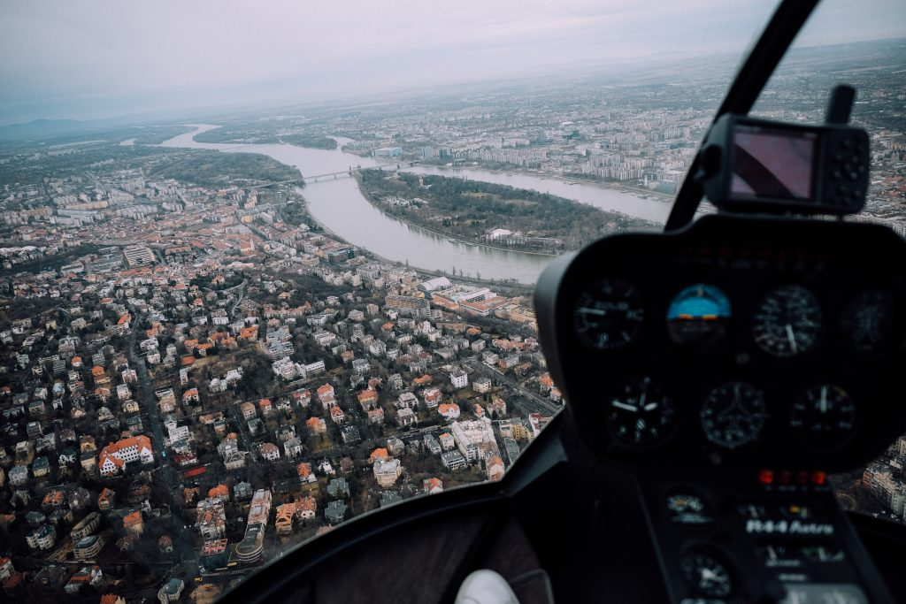 Helicopter Flight over Budapest, Hungary, 2016