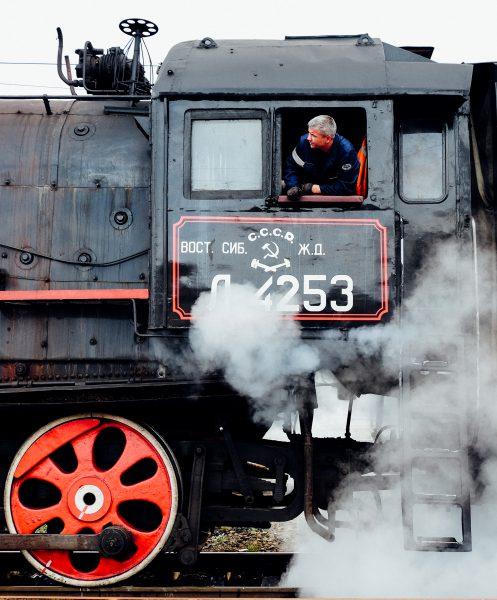 Steam Train on Baikal Lake