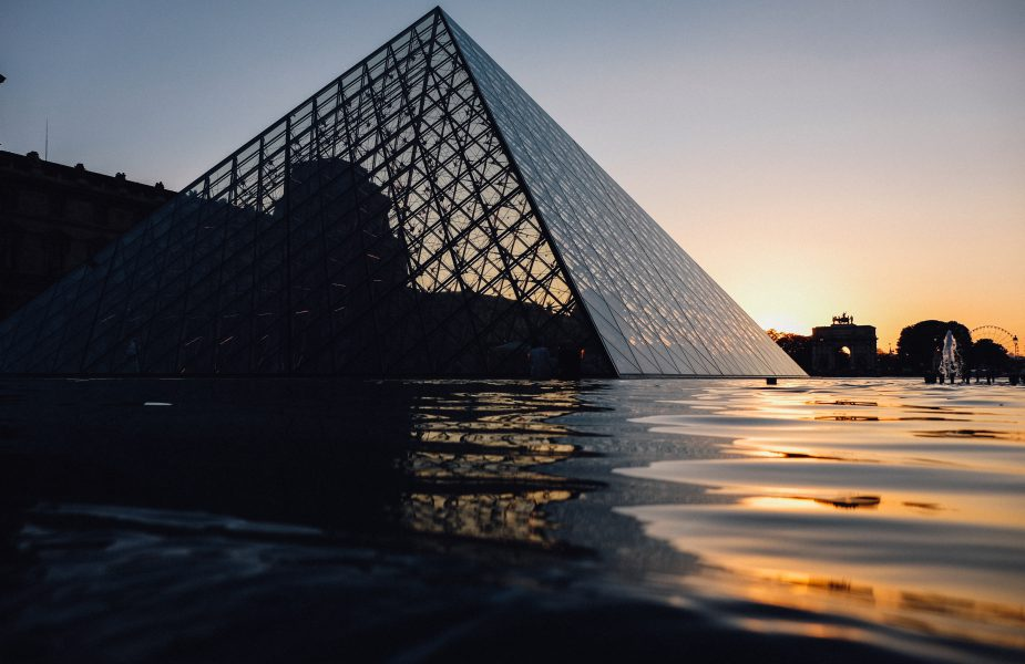 Sunset at Louvre Museum in Paris
